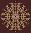 pretty round golden snowflake vector image vector image