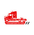 red container truck logo design vector image