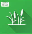 reeds grass icon in flat style bulrush swamp with vector image