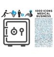 safe icon with 1000 medical business symbols vector image vector image