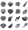 Sea Shell Flat Mono Icons Set vector image