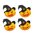 set of pumpkin emoticons vector image vector image