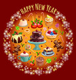 sketch with abundance sweets and pastries vector image