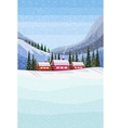 small village houses frozen river winter snowy vector image vector image