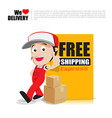 Smile delivery man thumb up with text sign free vector image