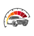 speeding car with speedometer showing high speed vector image