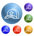 star baseball cap icons set vector image