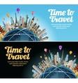 travel to world trip landmarks on globe vector image vector image