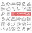 wedding thin line icon set love symbols vector image