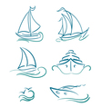 yacht and sailboats symbols vector image