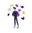 young man surrounded by flying books and vector image vector image