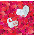 Seamless pattern with Red hearts confetti vector image