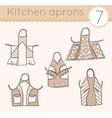 set of kitchen aprons 7 vector image