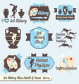 Vintage Art History Class Labels and Icons vector image