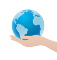 Hand Holding Blue Globe Icon Save Earth Concept vector image
