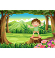 A stump with a playful kid vector image vector image