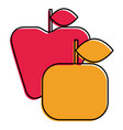 apple and orange fruit fresh icon vector image vector image