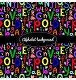 background with Latin letters of different sizes vector image vector image