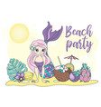 beach party sea travel clipart color vector image vector image