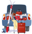 Car packed for a ski trip vector image vector image