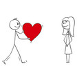 cartoon man or boy in love giving big romantic vector image