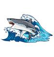 cartoon white shark design vector image vector image