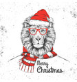 christmas hipster fashion animal lion vector image vector image