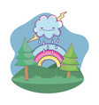 cute landscape cartoon vector image