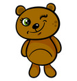cute little bear wiinking on a white background vector image vector image