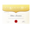 Design Certificate Certificate details gold vector image