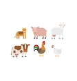 Different farm animals icons set vector image