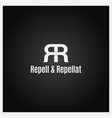 double letter r logo icon with two white r on vector image