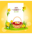 easter egg hunt basket with flowers and copy space vector image
