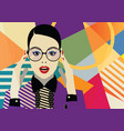 fashion girl in style pop art vector image vector image