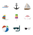 flat icon season set of ship hook boat surfing vector image vector image