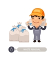 Garbage Worker Carrying Rubbish Bag vector image