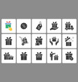 gift box icons set black vector image vector image