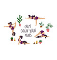 girl doing yoga poses with cat vector image vector image