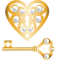 gold heart lock and key with pearl vector image