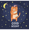 Good night card with a cute sleepy cat vector image vector image