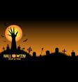 halloween background with demon hand in graveyard vector image vector image