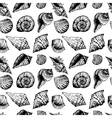 Hand drawn seamless pattern with various seashells vector image