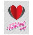 Heart Shape Paper Cut Background and Wedding Text vector image vector image