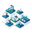 isometric doctors concept work medical hospital vector image