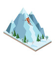 isometric man pulls off the mountain vector image vector image