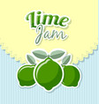 lime jam label in retro style on striped vector image vector image