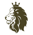 lion head with crown royal cat profile golden vector image