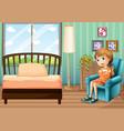 little girl sitting in bedroom vector image vector image