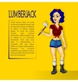 lumberjack girl with ax vector image vector image
