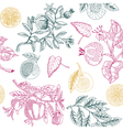 nature lemon print vector image vector image